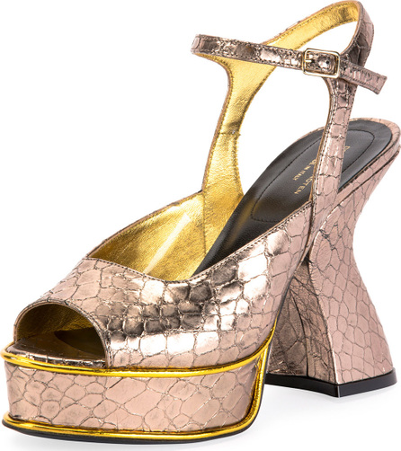 Dries Van Noten Louis IV Modern Snake-Print Platform Sandals