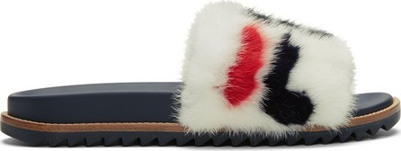 Fendi White 'Fendi Mania' Fur Slides