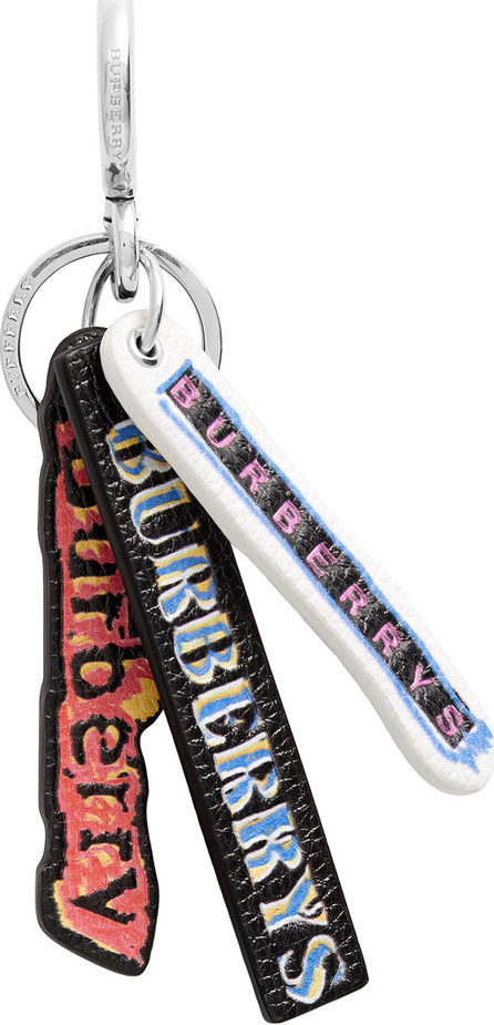 Burberry London England Tag Print Leather Key Chain