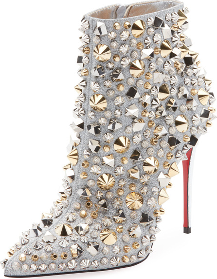Christian Louboutin So Full Kate Studded Metallic Leather Red Sole Booties