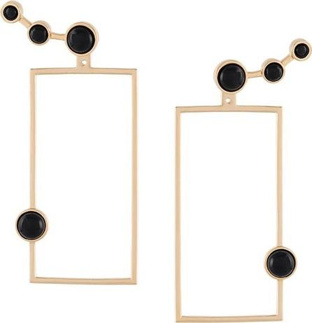 Eshvi cabochon rectangular earrings