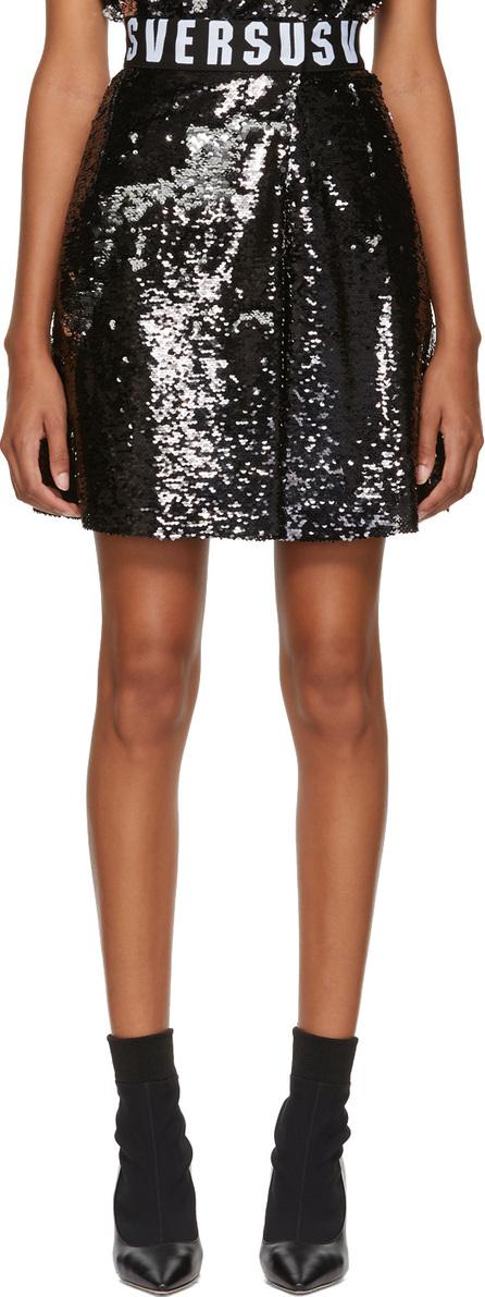 Versus Versace Black Sequinned Elastic Waistband Miniskirt