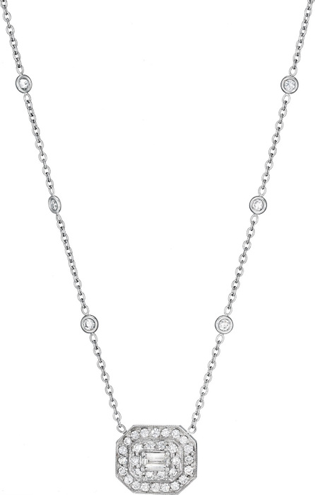 Penny Preville Deco Collection Emerald-Cut Diamond Pendant Necklace