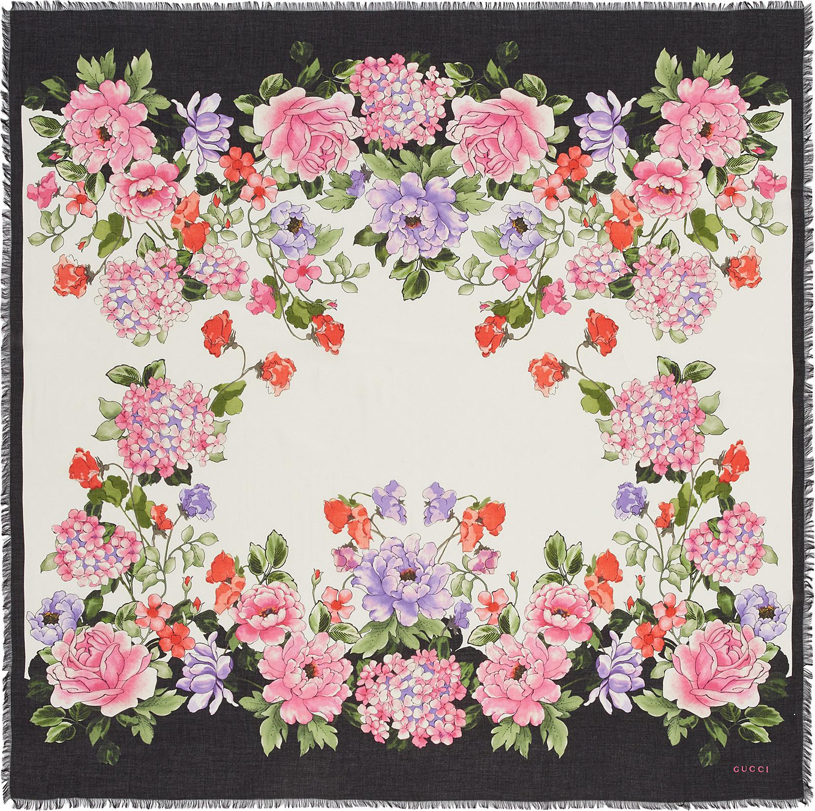 Gucci Rising Flower Print Modal Silk Scarf In Grey Mkt