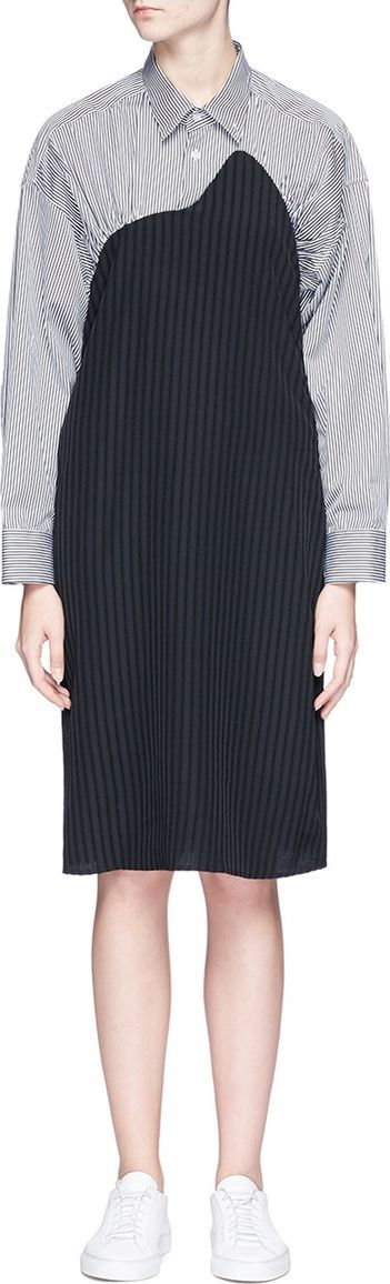 Aalto Stripe poplin yoke jacquard dress