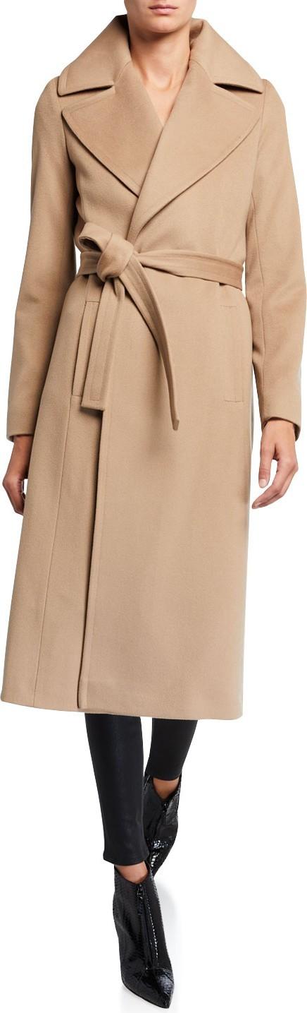 Fleurette Notch-Collar Wool Wrap Coat