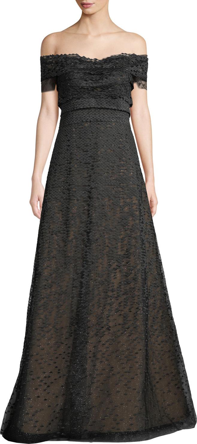 RENE RUIZ Textured Off-the-Shoulder Ball Gown in Grey - mkt