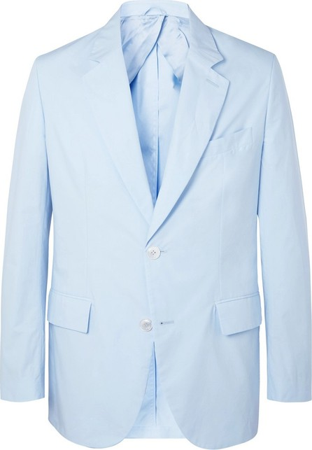 Brioni Sky-Blue Unstructured Cotton-Poplin Suit Jacket