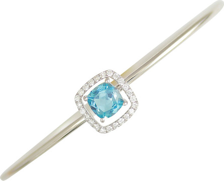 Frederic Sage 18k White Gold Diamond & Blue Topaz Bangle