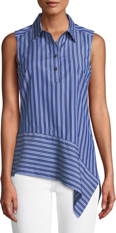 Derek Lam 10 Crosby Striped Asymmetrical Sleeveless Shirt
