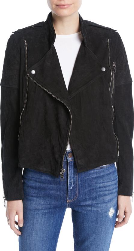 Alice + Olivia Miles Quilted Suede Zip-Front Moto Jacket