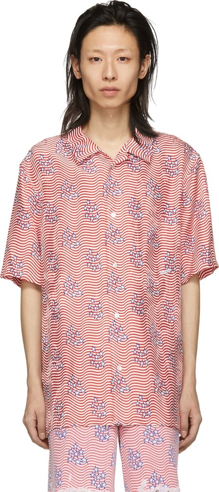 Alexander Wang Red & White Silk Stars & Stripes Flag Shirt