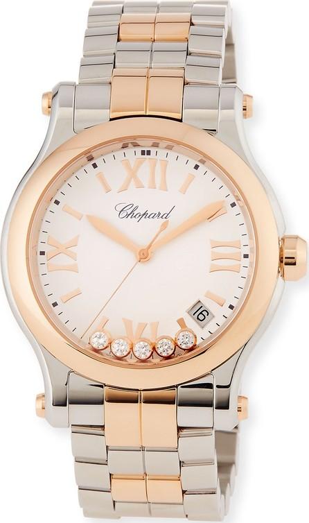 Chopard Happy Sport 18k Rose Gold & Stainless Steel Watch w/ Diamonds