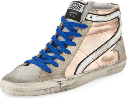 Golden Goose Deluxe Brand Slide Metallic Leather High-Top Sneaker