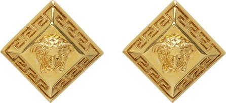 Versace SSENSE Exclusive Gold Rhombus Stud Earrings