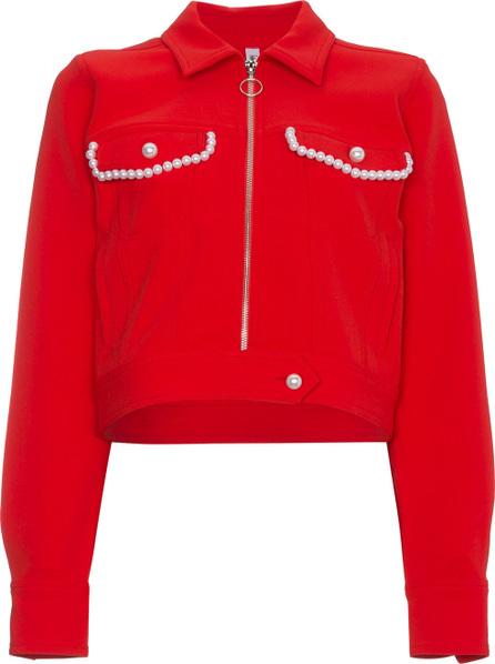 Adam Selman Faux Pearl Embellished Crop Jacket
