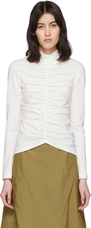 EDIT White Textured Mock Neck T-Shirt