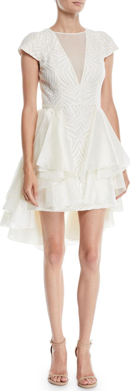 HALSTON HERITAGE Cap-Sleeve Lace Dress w/ Skirt Overlay