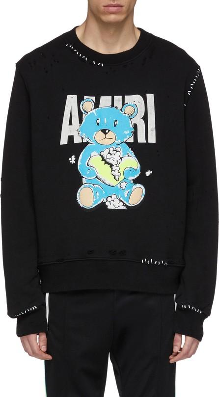 Amiri 'Teddy' logo graphic print distressed sweatshirt