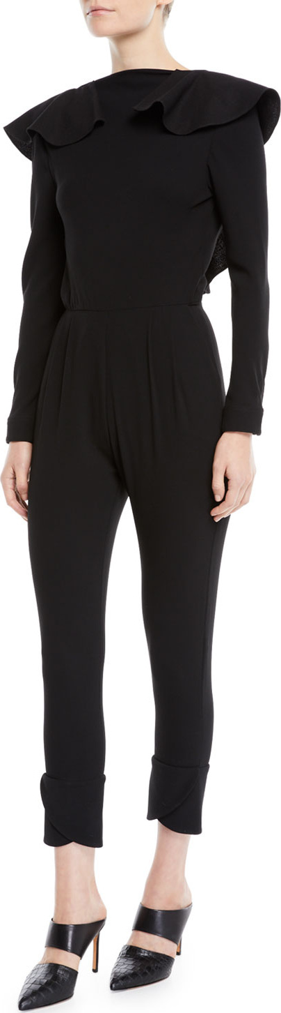 Johanna Ortiz Feel Me Ruffle-Neck Open V-Back Long-Sleeve Skinny Wool Jumpsuit