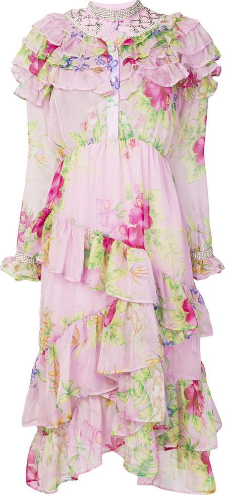 DODO BAR OR Floral print ruffle trim dress
