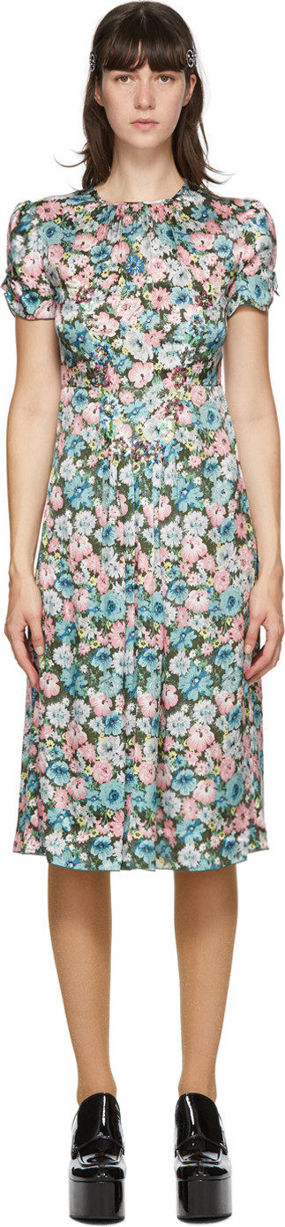MARC JACOBS Green Silk Floral 'The 40s' Dress