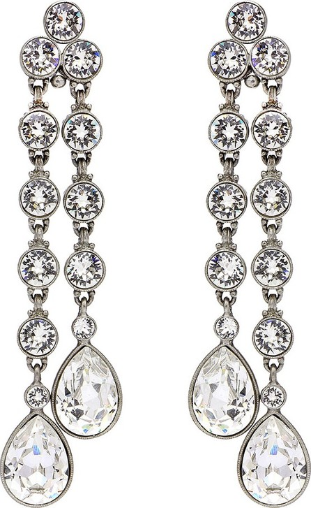 Ben-Amun Double Teardrop Crystal Dangle Clip Earrings