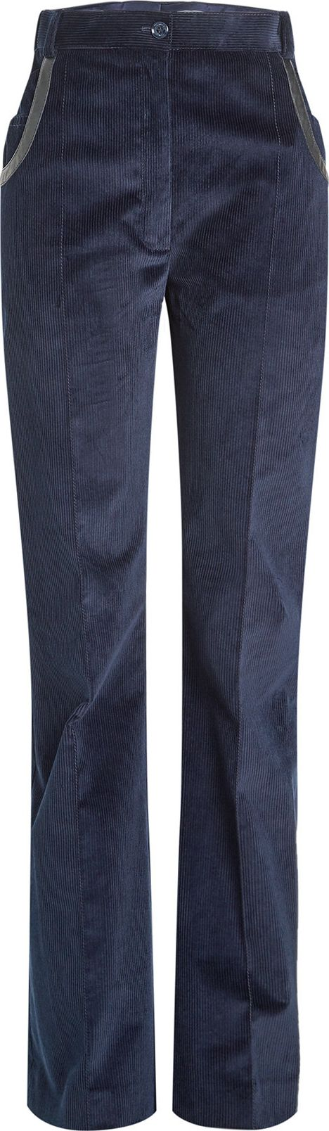 Nina Ricci - Corduroy Pants with Leather Trim
