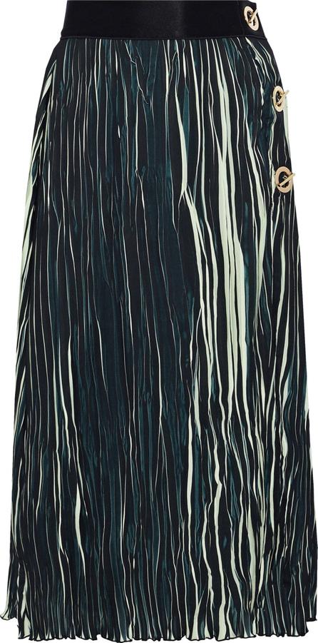 Derek Lam 10 Crosby Eyelet-embellished striped plissé midi skirt