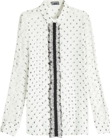 Giambattista Valli Printed Silk Blouse with Lace