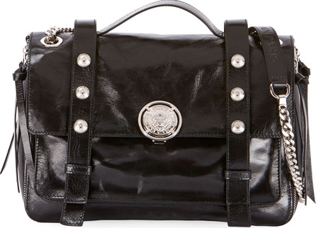 Balmain B Soft Shiny Leather Flap Shoulder Bag
