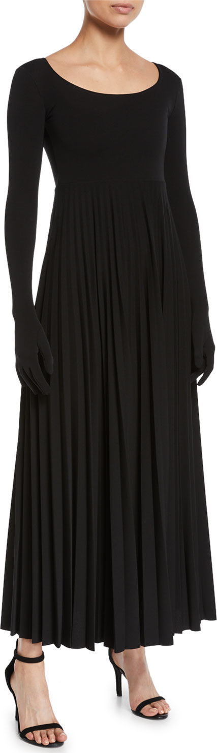 A.W.A.K.E Scoop-Neck Pleated Long Dress with Gloves
