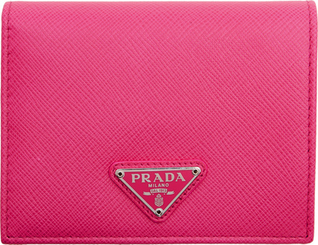 Prada Pink Small Triangle Logo Wallet