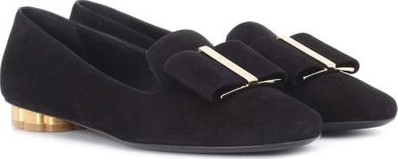 Salvatore Ferragamo Flower Heel suede slippers