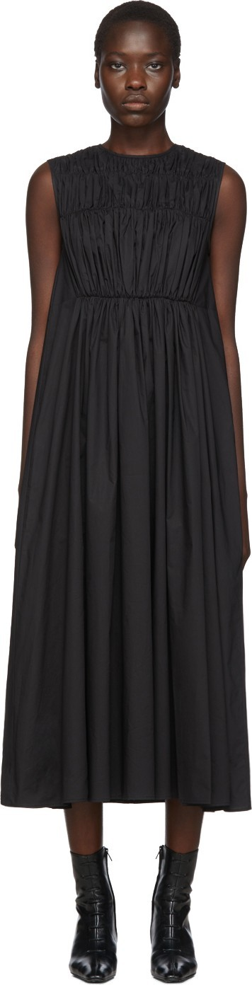 Chika Kisada Black Poplin Gathered Dress