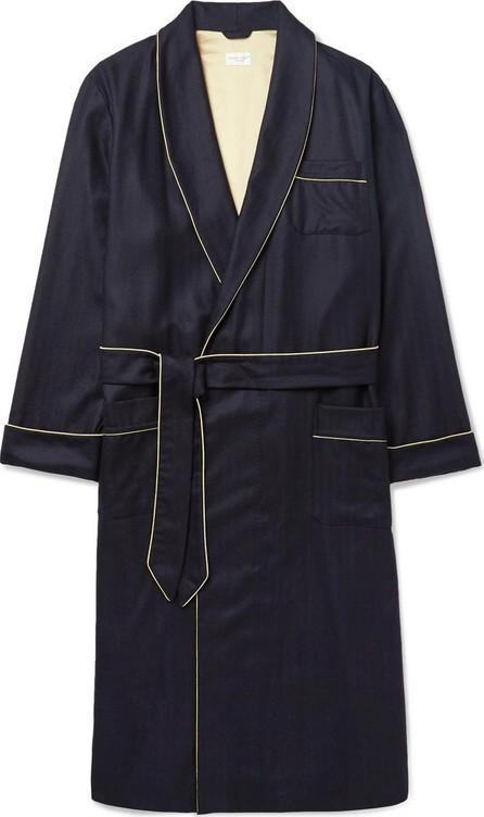 Derek Rose Duke Silk-Trimmed Herringbone Cashmere Robe