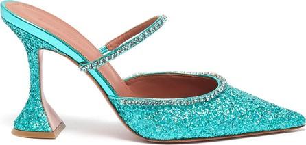 Amina Muaddi ''''''Gilda' crystal strap sequin heeled mules