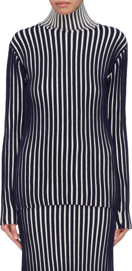 VICTORIA, VICTORIA BECKHAM Stripe wool ottoman knit turtleneck sweater