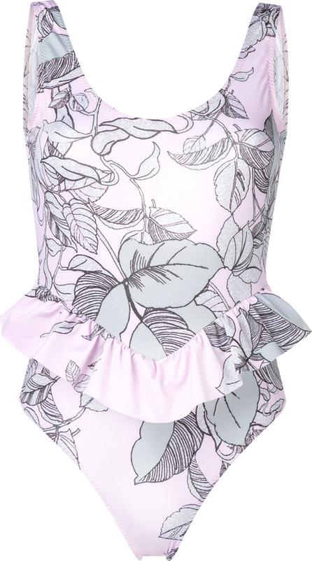 Nos Beachwear Floral ruffle hem swimsuit