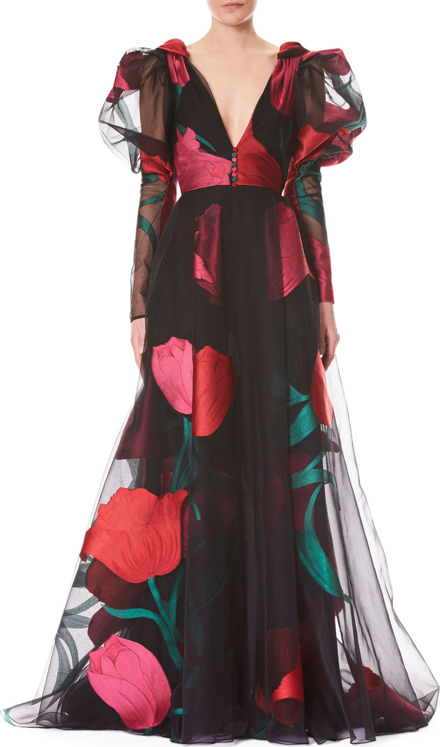 Carolina Herrera Deep-V Full-Sleeve Tulip-Printed Tulle Evening Gown ...
