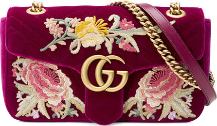 Gucci GG Marmont Velvet Floral Shoulder Bag