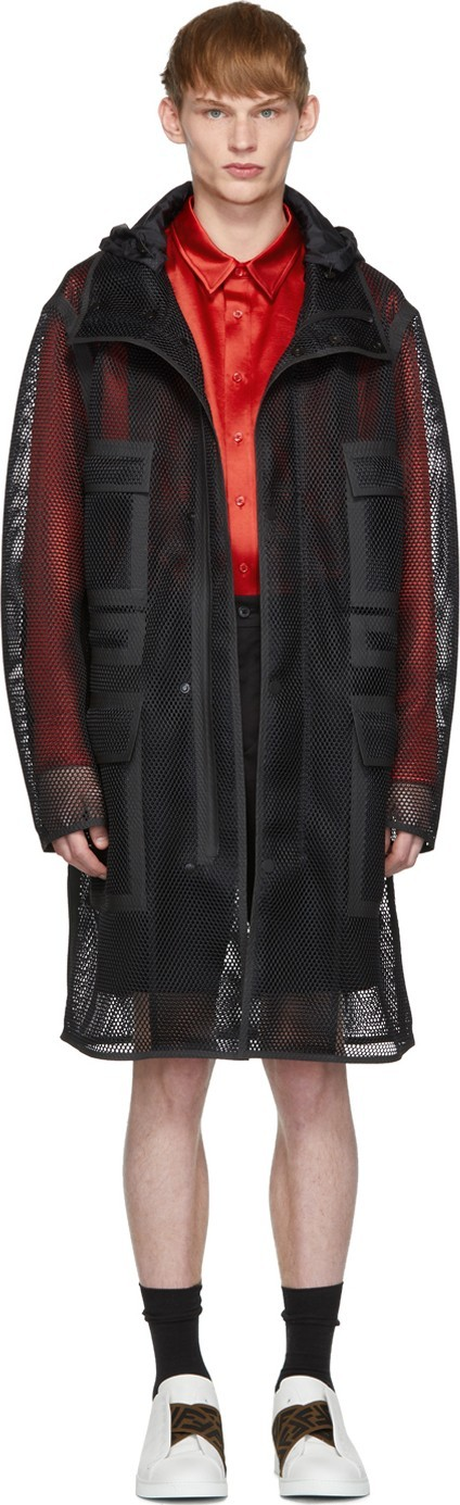 Fendi Black Mesh 'Fendi Mania' Hooded Coat