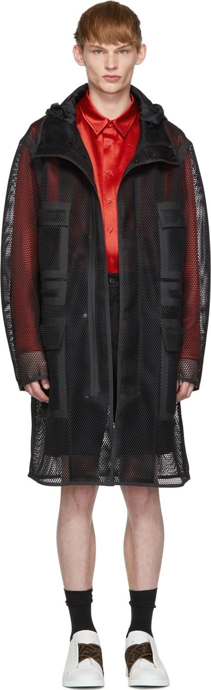 Fendi Black Mesh 'Fendi Mania' Hooded Coat