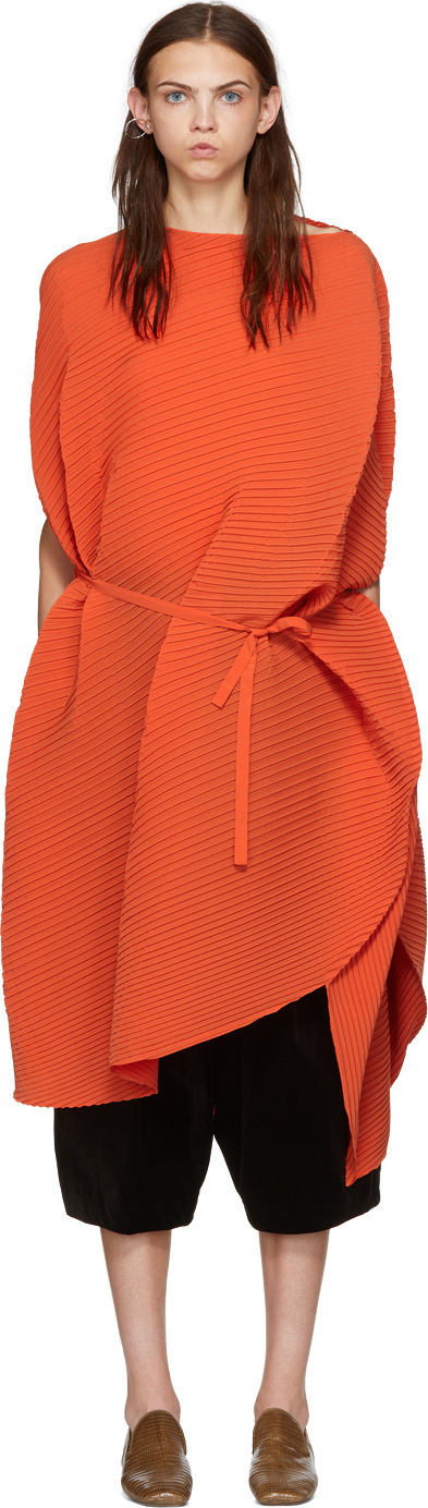 Issey Miyake Orange Pleated Sunlight Spherical Dress