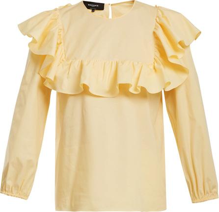 ROCHAS Round-neck ruffled cotton-blend top