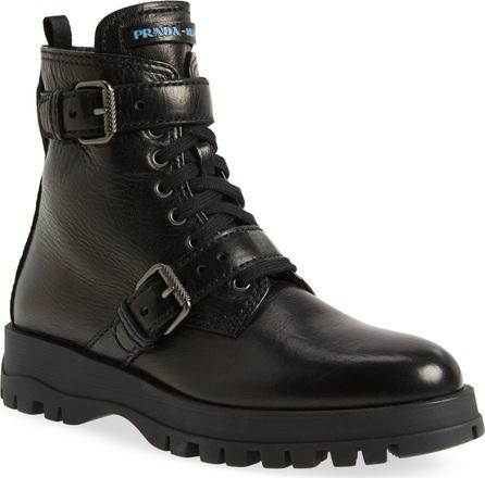 Prada Buckle Combat Boots