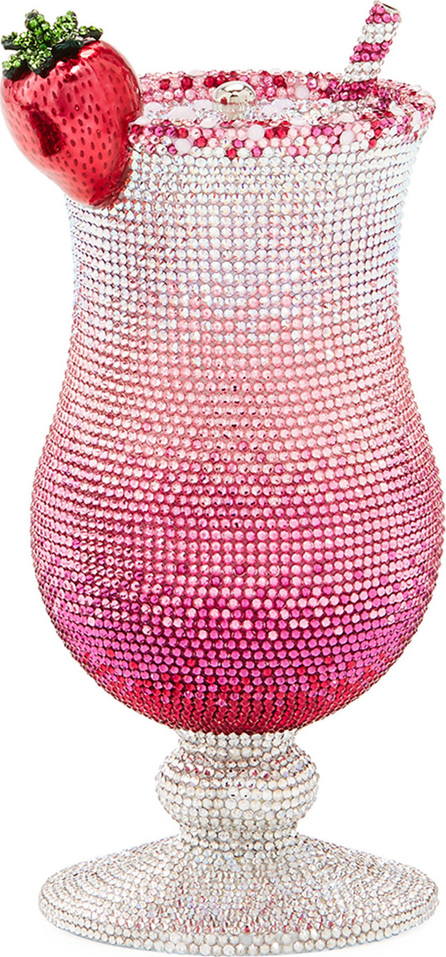 Judith Leiber Cocktail Pink Lady Crystal Clutch Bag
