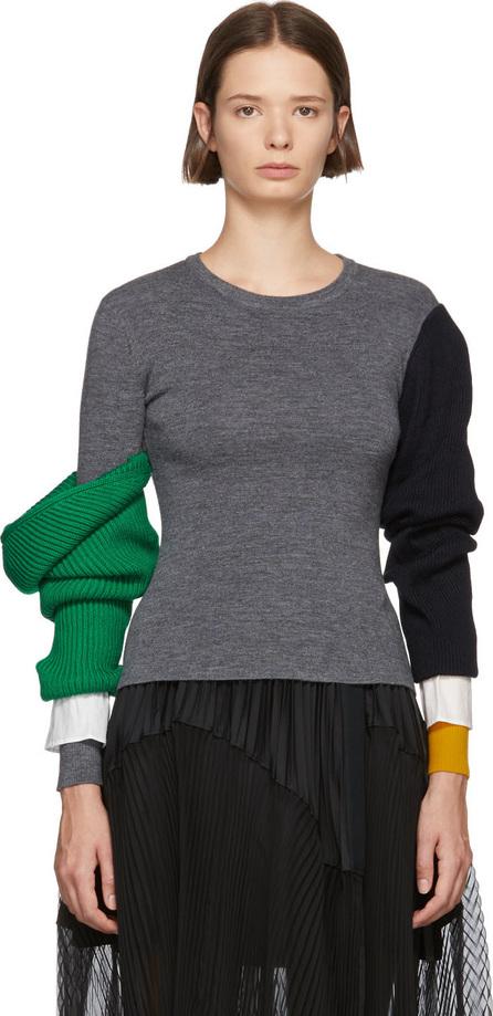 Enfold Grey Lara Arm Layered Sweater