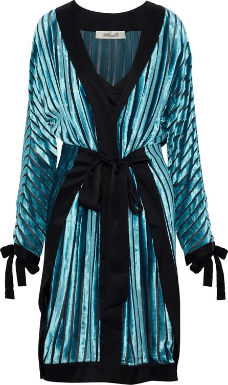 DIANE von FURSTENBERG Satin-trimmed devoré-velvet and chiffon wrap dress