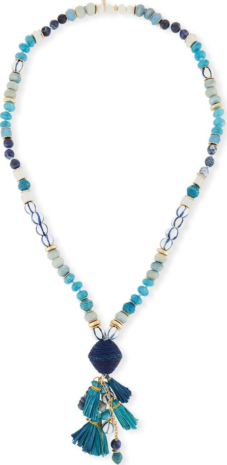 "Akola Long Mixed Bead Necklace w/ Multi-Tassel Drop, 36"""